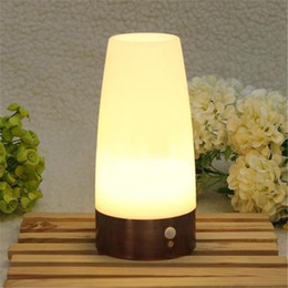 Wholesale 2015 New Wireless PIR Hot Sale Wireless Motion Sensor Retro Bedroom Night Light Battery Powered LED Table Lamp Best Quality Xmas gifts kids