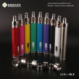 vapor batteries EGO II Twist 2200MAH Battery Variable Voltage 3.3-4.8V huge vape rainbow color high quality DHL free shipping