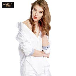 Wholesale Solid Color Boyfriend Shirt - Plus Size Boyfriend Shirt White Women 2016 Autumn Korean Style New Fashion Long Sleeve Women Casual Cotton Blouses Tops S-XL