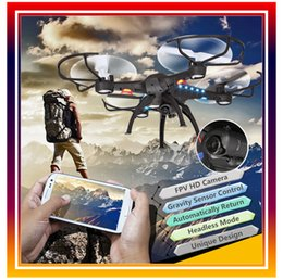 Promotion gps quadcopter fpv Gros-WIFI FPV Quadcopter RC Quadcopter Hélicoptère télécommandé WIFI UFO Téléphone contrôle Headless ModeGPS Drone avec 2.0MP HD
