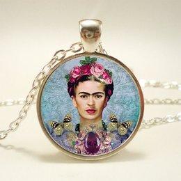 Wholesale 10pcs Frida Kahlo Necklace Feminists Artist Art Pendant Glass Cabochon Necklace