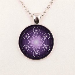 Wholesale Picture Flower of Life Pendant Chakra Sacred Geometry Jewelry Art Glass Cabochon pendant glass gemstone necklace