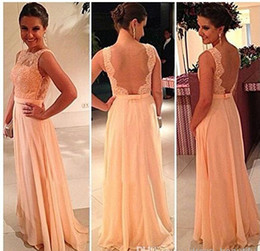 Cheap Open Back Print Chiffon Lace Long Peach Color Bridesmaid Dress Under 50$ Party Dress 2015 Prom Vestidos wedding party dresses