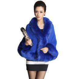New Winter Women's Designer Wool Coats Cape Cloak Women's Cashmere Coat With Cheap Faux Fox Fur Collar Warm Kitted Cardigan