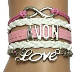 Wholesale 2016 hot style men women Drop Shipping Infinity Love AVON Bracelet Custom Cosmetics Company Handmade Leather Strand Wrap Charm Bracelet