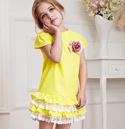 Little Girls Vêtements d'été Robe à volants bowknot Fleurs de dentelle pour les enfants de haute qualité pur coton enfants Robes 90-130 5Pcs / Lot K39 à partir de dentelle en couches robe tutu enfants fabricateur