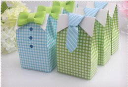 50PCS LOT Cute Boy wedding Favor Box with bow tie baby shower baptism party candy box
