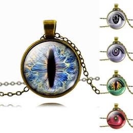 Wholesale Vintage Antique Bronze D Eyes Glass Cabochon Pendant Necklace New Brand Fashion For Women Men