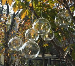 Wholesale cm hanging glass planter terrariums glass ball tealight holders Wedding House ornament candlestick flat bottom