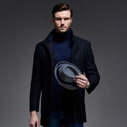 Fall-2015 Autumn Winter brand men wool windbreaker New fashion men Woolen coat winter jacket trench coat outerwear black overcoat