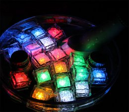 Xmas Decoration Polychrome Flash Ice Cube Water-Actived Flash Led Light Put Into Water Drink Flash Glow Ice Cube Party Wedding Bar 50Pcs Lot