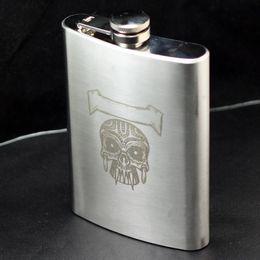 Wholesale Stainless Steel Skull Flask - Wholesale-3pcs Lot Hip Flask 8 oz Stainless Steel A- Skull