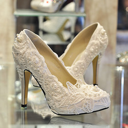 High Quality White Red Lace Dress Wedding Shoes Thin High Heels Pumps For Party Ladies Shoes With Pearls Plus Size Custom Made 2016