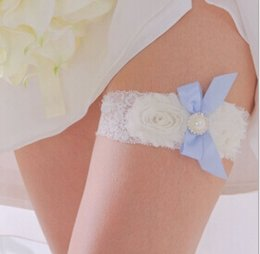 Wholesale 2014 Sexy Lace Bridal Garters with Blue Bow White Flowers Wedding Leg Garters Bridal Accessories LX