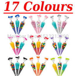Wholesale Polka Dot Cello Cellophane Cone Shaped Sweet Candy Treat Display Favor Gift Wedding Birthday Baby Shower Party Decoration Bags