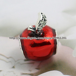 925 Sterling Silver Snow White Apple Charm Bead with Red Enamel and Dark Green Cz Fit European Pandora Style Jewelry Bracelets & Necklace