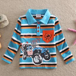 Descuento coche de camisetas al por mayor Wholesale-NEAT al por mayor compras libres 2015 nuevos babykids chicos guapos camiseta de la impresión de la raya del coche bolsa de ropa de algodón de los niños pequeños