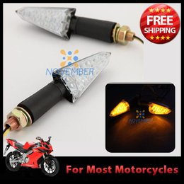 Wholesale 2 Wire Connection LED Motorcycle Motorbike Chopper Cruiser Turn Signal Light Indicator Amber DC12V Black order lt no track