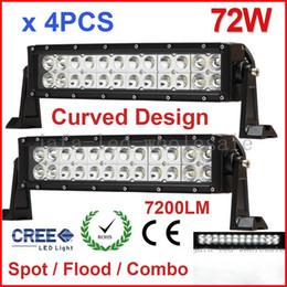 "4PCS 13.5"" 72W Curved CREE 24LED*3W Work Light Bar Offroad SUV ATV 4WD 4x4 Spot   Flood   Combo Beam 7200lm 12 24V Truck Trailer Fog White"