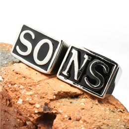 Wholesale Size Top Quality Stainless Steel Biker SO NS Ring Sons of Anarchy Ring Jewelry