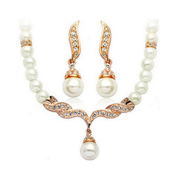 Korean Elegant Pearl Jewelry Sets Angle Necklace Earrings Sets 18KGP Alloy Pearl Wedding Jewelry Set For Women 1014