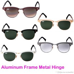 Wholesale Mens Sunglasses Designer Brands Sunglasses BanDtun Top Quality Aluminum Frame Metal Hinge Green Glass Lens UV400 Polarized Sunglasses