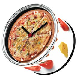 Wholesale New Arrival Pizza Cheese Design Wall Clocks With Desk Clock Functions And Magnetic Table Clocks On Back