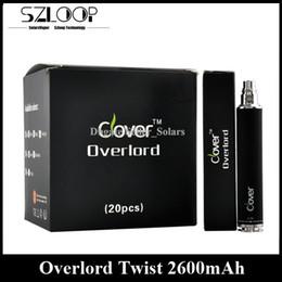 Wholesale Original mah Clover Overlord Twist Battery Variable Voltage E Cigarette Battery V V vs EGO II Twist XDOG II Firephoenix EGO Batter