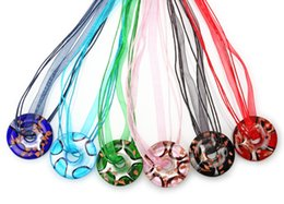 2016 New Fashion Handmade Silver Foil Round Murano Glass pendant necklace Handmade Jewelry Wholesale Lots Colorful Round 6Mix Color
