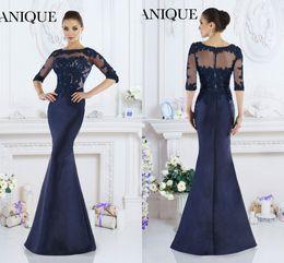 2016 Janique Dresses Evening Wear Jewel Half Sleeve Appliques Lace Royal Blue Elegant Mermaid Satin Evening Dresses Formal Mother Dress