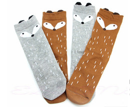 New 2015 Girls Knee High Socks Kids Soft Cotton Children Fox Pattern Knee High Socks For Girls Children Christmas Gift