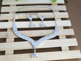 Shiny Crystal Wedding Jewelry Bridal Necklace And Earrings Luxury Wedding Jewelry Sets For Bridal Dresses Free Shipping