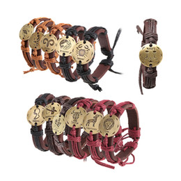 12 Constellations Zodiac Bracelet The Zodiac Hemp Leather Women Men & Women Unisex Vintage Jewelry Twelve Horoscope Bangles order<$18no trac