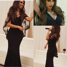 Wholesale 2016 Black Arabic Myriam Fares Lace Bat Sleeves Mermaid Evening Dresses vestido de festa Fashion New V Neck Arabic Formal Prom Gowns BA0648