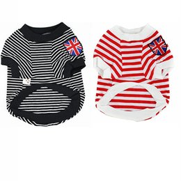 Wholesale New Dog Puppy Pet Clothes UK Flag Stripes T Shirts Tops Summer Costume XS S M L XL