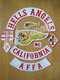 Wholesale Original Embroidery twill Biker Patches for Jacket Back Full Size and Full Set HELLS ANGELS Motorcycle MC Surport Customized