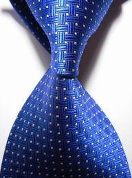 Wholesale NEW gravatas slim tie for men cm inch width Royal Blue Crossed grey dot Polyester JACQUARD WOVEN Silk professional Tie formal neckties