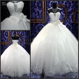 Newest Wedding Dresses Ball Gown Sweetheart Floor Length White Tulle Rhinestones Real Sample Castle Bling Wedding Dresses