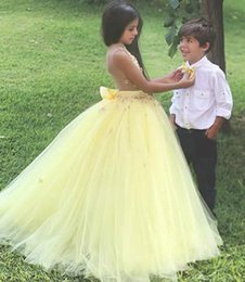 New Arrival Stunning Yellow Ball Gown Flower Girl Dresses for Wedding Girls Pageant Dress Gowns Kids Party Dress Cheap