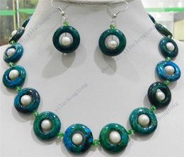 Wholesale 20MM RING AZURITE GEMS PHOENIX TRUE WHITE CULTURED PEARL NECKLACE EARRINGS SET