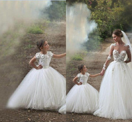 Mother And Daughter 2016 Flower Girls Dresses For Weddings Lace White Ivory Tulle Arabic Party Princess Children Kids Party Birthday Gowns