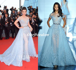 2019 Light Sky Blue Sexy Zuhair Murad Overskirts Evening Dresses Sheer Neck Jewel Applique Beads Lace Poet Short Sleeves Celebrity Gowns
