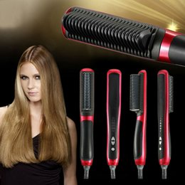 Wholesale New Design Electric Straight Hair Comb Straightening Iron with LED Gear Indicator Straightener Iron Brush Rapid Straightening Iron Hair