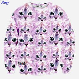 Wholesale w20151222 Amy new fashion women men D hoodies print pink cute cats funny sweatshirt long sleeve casual hoodys WY41