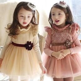 Kids Princess Dress 2015 Autumn Hot Korean Style Children Tutu Dresses With Applique Cute Collar One-piece Dress For Girls 5PCS lot T1459