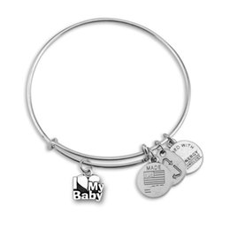 Wholesale Hot Selling a Zinc Alloy Mental Letter I Love My Baby Heart Pendant Wire Adjustable Bangle Bracelets Woman Jewelry
