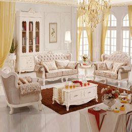 European Elegant Living Room Sofa Fabric Sofa combination Sofa carved French countryside