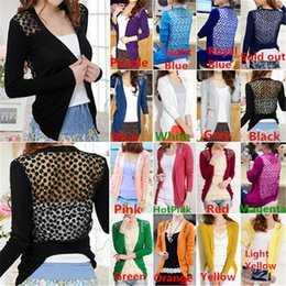 Wholesale New Arrivals Womens Ladies Knits Coat Sweater Cardigan Tops Shirt Cotton Blend Lace Candy Color Hollow Out AX96
