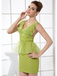 Wholesale Amazing V Neck With Flowers Sheath Sash Ruffles Waist Column Sexy Party Dresses Green Suppliers High Quality With Factory Price