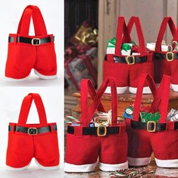 New Hot Sales Lovely Santa Pants Style Candies Red Christmas Candy Gifts Bag Xmas Bag Gifts Christmas Decorations 20pcs Lot AM0082